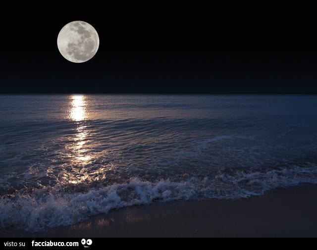 Luna Sul Mare Di Notte Facciabucocom