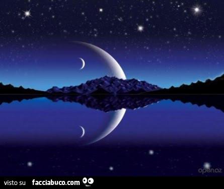 Luna e stelle che si specchiano in acqua - Facciabuco.com